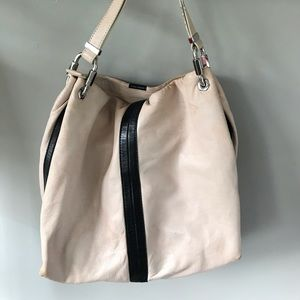Michael Kors pink leather bucket bag purse large